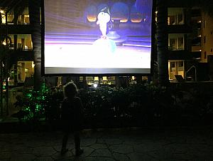 The resort has a nighttime movie every night down by the pool. Capri liked to walk by and watch for a couple minutes before bed.