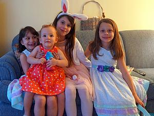 Now Easter with the Klockes -- Capri with her older second-cousins!