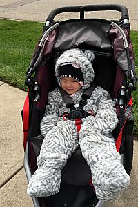 All bundled up for a run with Mom