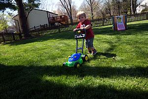 Benny playing with his new lawnmower