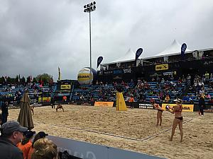 At the FIVB tournament to watch USA beach volleyball vs Spain. Carrie Walsh serving.