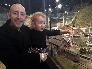 Capri and Daddy at the Entertrainment Junction