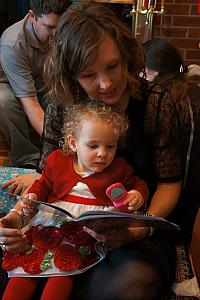 Capri and Mommy reading a book