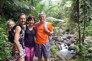 Sunday, March 12: Welcome Mimi and Grandpa! They arrived yesterday afternoon. We're all now  hiking at the El Yunque rainforest.