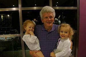 Grandpa with his granddaughters -- repeat photo from last time we were here!