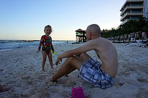 Dad and Capri on the beach
